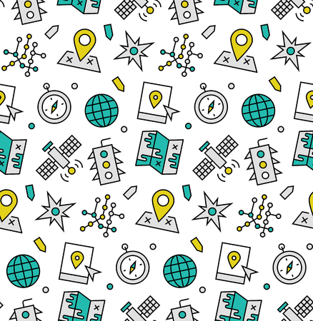 Modern line icons seamless pattern texture of various navigation elements, global positioning system, satellite communication. Flat design graphic, perfect for web background or print wrapping decoration.