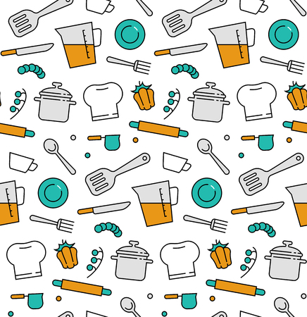 food preparation: Modern line icons seamless pattern texture of cooking utensils, kitchen equipment, food preparation, kitchenware tools. Flat design graphic, perfect for web background or print wrapping decoration.