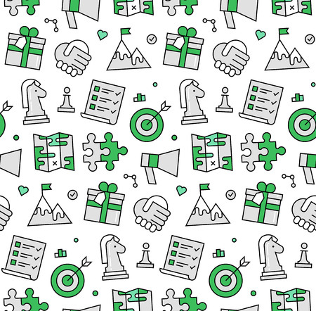 Modern line icons seamless pattern texture of competitive business strategy planning, success partnership, market solution. Flat design graphic, perfect for web background or print wrapping decoration.