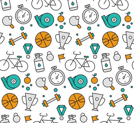 active lifestyle: Modern line icons seamless pattern texture of various sport equipment, fitness and active lifestyle, training for healthcare. Flat design graphic, perfect for web background or print wrapping decoration. Illustration