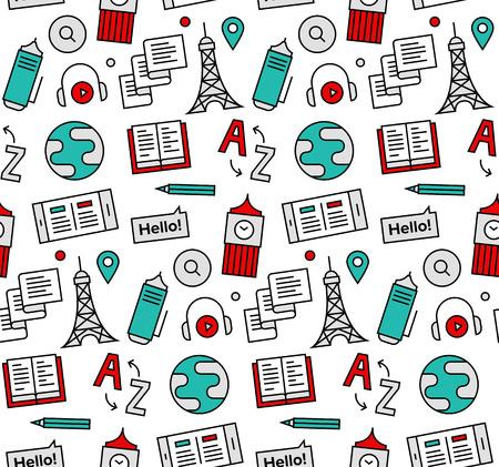 현대 라인은 외국어 번역 서비스, 영어 과정의 온라인 학교의 원활한 패턴 질감 아이콘. 웹 배경 또는 인쇄 포장 장식을위한 완벽한 평면 디자인, 그래