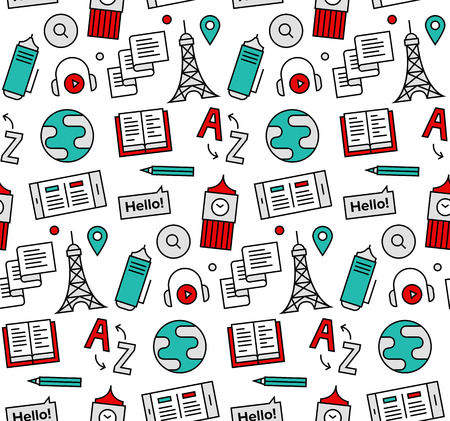 english: Modern line icons seamless pattern texture of foreign language translation service, online school of English course. Flat design graphic, perfect for web background or print wrapping decoration.