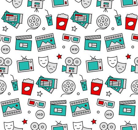 アクション映画, 映画撮影, ホームシアター レジャー エンターテイメントを見ての近代的なライン アイコン シームレス パターン テクスチャ。フラットなデザイン グラフィック、web の背景のために完全または印刷装飾をラップします。 写真素材 - 50569099