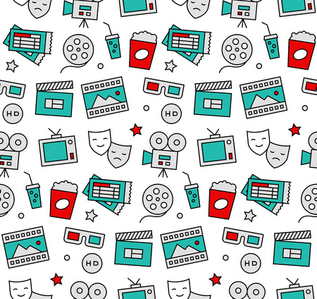home entertainment: Modern line icons seamless pattern texture of watching action movie, cinema shooting, home theater leisure entertainment. Flat design graphic, perfect for web background or print wrapping decoration.
