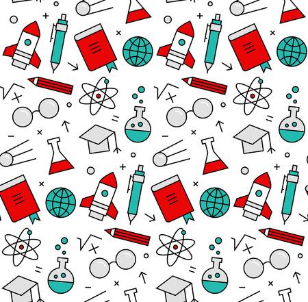 현대 라인은 로켓 과학 연구와 학습, 화학 연구, 실험실 실험의 원활한 패턴 질감 아이콘. 웹 배경 또는 인쇄 포장 장식을위한 완벽한 평면 디자인 그래픽. 벡터 (일러스트)