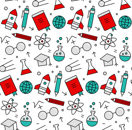 test pattern: Modern line icons seamless pattern texture of rocket science study and learning, chemistry research, laboratory experiment. Flat design graphic, perfect for web background or print wrapping decoration.
