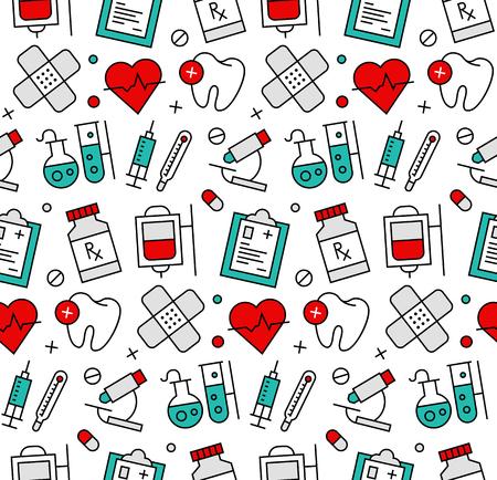 Línea moderna iconos perfecta textura patrón de elementos de la medicina, asistencia médica, herramientas de investigación de laboratorio clínicas. Diseño gráfico plana, perfecta para el fondo web o decoración envoltura de impresión. Ilustración de vector