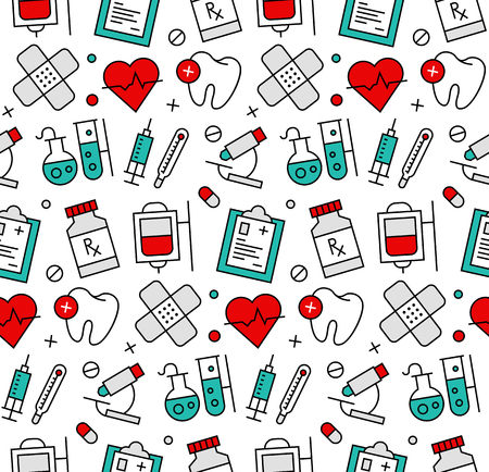 Modern line icons seamless pattern texture of medicine elements, medical assistance, clinics laboratory research tools. Flat design graphic, perfect for web background or print wrapping decoration. Vetores