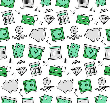 Moderne lijn iconen naadloze patroon textuur van financiële dienstverlening en het bankwezen objecten, spaarpot kluis, geld besparen. Platte ontwerp grafisch, perfect voor web achtergrond of afdrukken verpakking decoratie.