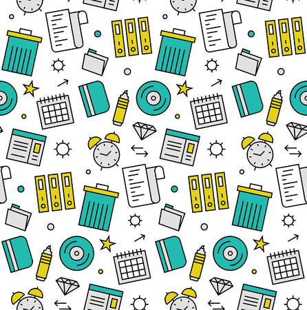 Modern line icons seamless pattern texture of various office objects, business tools for management and routine organization. Flat design graphic, perfect for web background or print wrapping decoration. Illustration