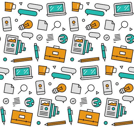 市場データのポートフォリオ、オフィス機器、ビジネス要素の近代的なライン アイコン シームレス パターン テクスチャの web ネットワーク。フラ  イラスト・ベクター素材