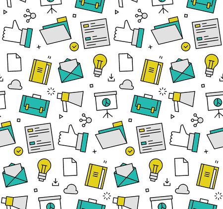 Moderne lijn iconen naadloze patroon textuur van social media marketing, digitale business tools, marktgegevens presentatie. Platte ontwerp grafisch, perfect voor web achtergrond of afdrukken verpakking decoratie.
