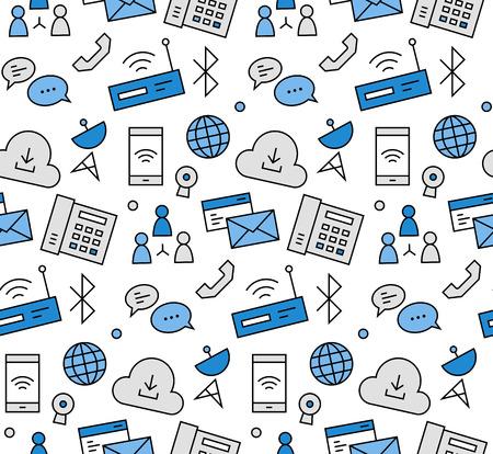 Iconos modernos de la línea perfecta textura patrón de la comunicación por Internet, conexión a la red informática, datos de la nube de alojamiento. gráfico diseño plano, perfecto para el fondo web o envolvimiento de decoración de impresión.