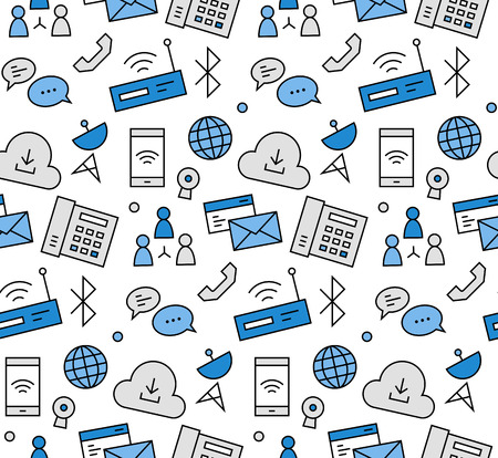 data transmission: Modern line icons seamless pattern texture of internet communication, computer network connection, cloud data hosting. Flat design graphic, perfect for web background or print wrapping decoration.