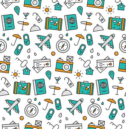 Iconos modernos de la línea perfecta textura patrón de servicio de agencia de viajes, viaje de aire alrededor del mundo viaje, el turismo y el ocio. gráfico diseño plano, perfecto para el fondo web o envolvimiento de decoración de impresión. Ilustración de vector