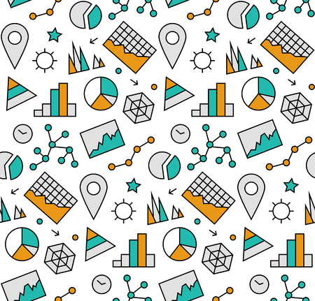 stat: Modern line icons seamless pattern texture of infographics charts and graphs, business diagram, success market statistics. Flat design graphic, perfect for web background or print wrapping decoration.