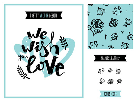celebration background: Wish you love poster graphics with valentines day hand-drawn floral seamless pattern, vintage drawing invitation design elements for creating various celebration events. Isolated on white background. Illustration