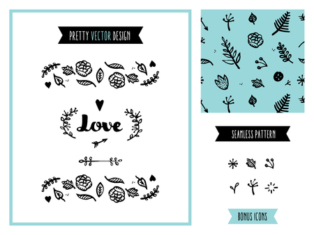 Valentines day love beautiful hand-drawn vector graphics, floral seamless pattern, vintage drawing invitation design elements for creating various celebration events. Isolated on white background. Illustration