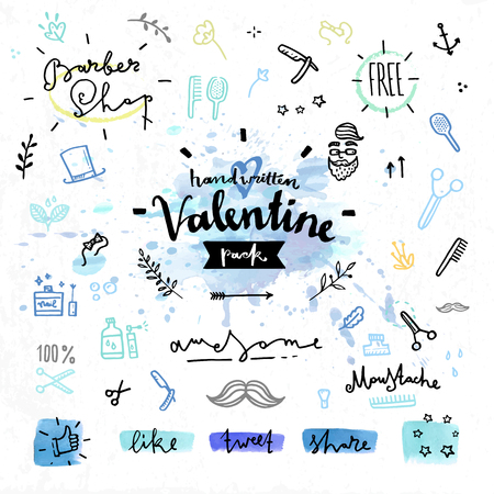accessory: Hand drawn decoration elements with valentines day love lettering of hair style in barber shop, grooming tools, man elegancy. Handwritten vector drawing design set on colorful watercolor background.