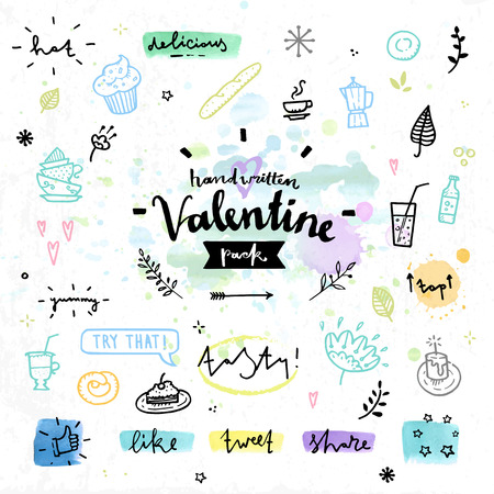 dinner date: Hand drawn decoration elements with valentines day love lettering of delicious sweets, aroma coffee and hot tea, tasty cakes. Handwritten vector drawing design set on colorful watercolor background.