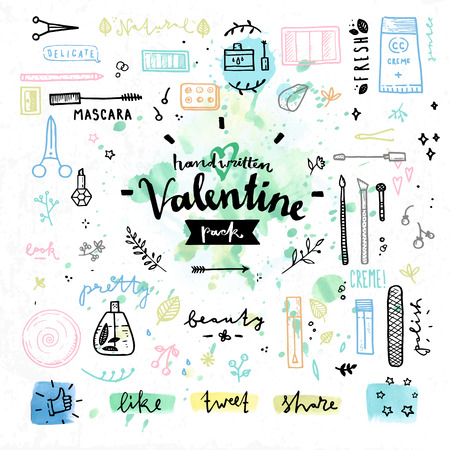 beauty products: Hand drawn decoration elements with valentines day love lettering of female beauty products, cute makeup cosmetics accessories. Handwritten vector drawing design set on colorful watercolor background.  Illustration