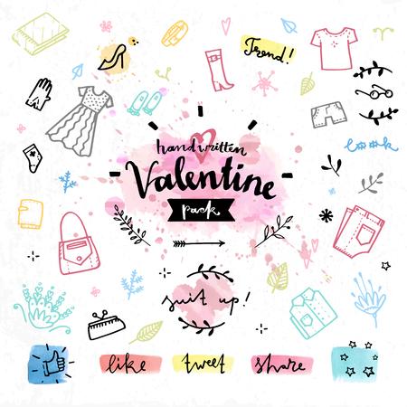 Hand getrokken decoratie-elementen met Valentijnsdag liefde belettering winkelen geschenken, romantische aanwezig, vrouwelijke outfit kleren. Handgeschreven vector tekening design set op kleurrijke aquarel achtergrond. Stock Illustratie