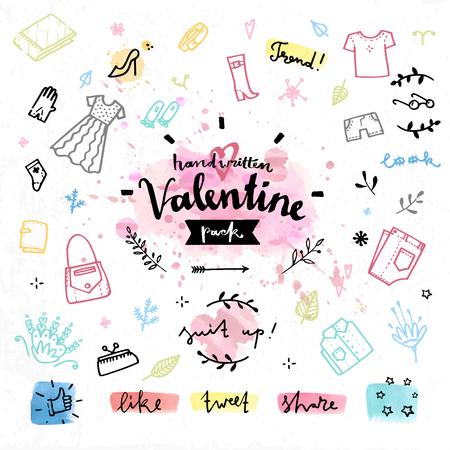 Hand drawn decoration elements with valentines day love lettering of shopping gifts, romantic present, female outfit clothes. Handwritten vector drawing design set on colorful watercolor background.