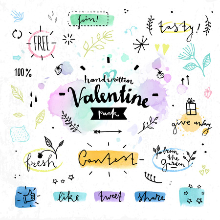 Hand drawn decoration elements with valentine's day love lettering of floral leafs, herbal and nature products for organic cafe. Handwritten vector drawing design set on colorful watercolor background.  Vectores