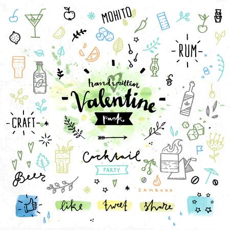 bebida: elementos desenhados mão decoração com dia lettering amor dos namorados da festa dura Comemoração, álcool e cocktails bebidas. desenho vetorial manuscrita ajustado no fundo colorido da aguarela. Ilustração