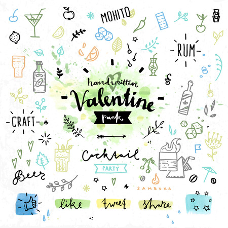 hard love: Hand drawn decoration elements with valentines day love lettering of party hard celebration event, alcohol and cocktail drinks. Handwritten vector drawing design set on colorful watercolor background.