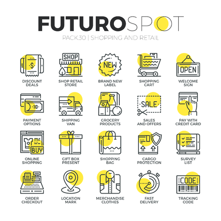 coupon: Stroke line icons set of retail business, internet shopping, online sales. Modern flat linear pictogram concept. Premium quality outline symbol collection. Simple vector material design of web graphics. Illustration