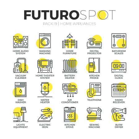 symbols: Stroke line icons set of household appliances, consumer electronics. Modern flat linear pictogram concept. Premium quality outline symbol collection. Simple vector material design of web graphics. Illustration