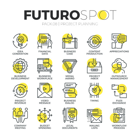 project planning: Stroke line icons set of business workflow and project planning process. Modern flat linear pictogram concept. Premium quality outline symbol collection. Simple vector material design of web graphics.