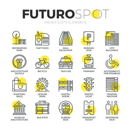 수송: 스트로크 라인 아이콘 도시 여행 요소, 교통 도로 표지판의 집합입니다. 현대 평면 선형 그림 개념입니다. 프리미엄 품질 개요 기호 컬렉션입니다. 웹