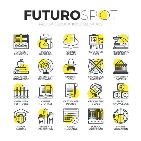 교육: 스트로크 라인 아이콘 온라인 웹 학교 교육의 교육 및 연구의 집합입니다. 현대 평면 선형 그림 개념입니다. 프리미엄 품질 개요 기호 컬렉션입니다. 웹 그래픽의 간