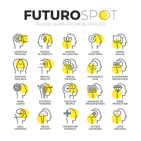 Stroke line icons set of human brain features, mind feelings and emotions. Modern flat linear pictogram concept. Premium quality outline symbol collection. Simple vector material design of web graphics. Vectores