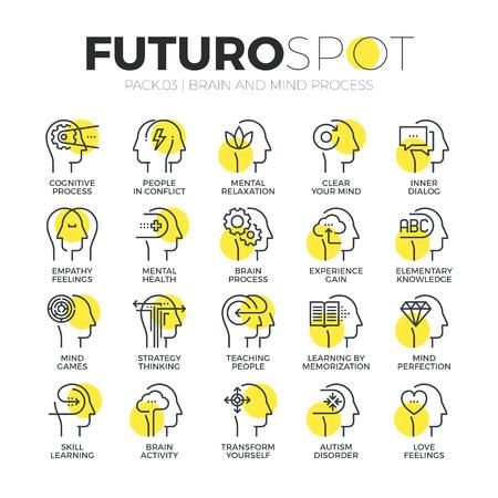 empatia: iconos de líneas de trazo conjunto de características del cerebro humano, los sentimientos de la mente y las emociones. pictograma concepto lineal plana moderna. calidad de la captación símbolo del esquema de suscripción. diseño de material de vectores simple de gráficos para la web.