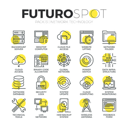 web hosting: Stroke line icons set of cloud network connection, internet data security. Modern flat linear pictogram concept. Premium quality outline symbol collection. Simple vector material design of web graphics.