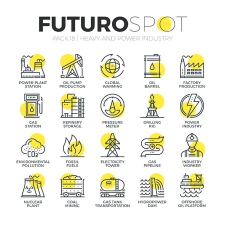Stroke line icons set of power plant, resource mining, electricity industry. Modern flat linear pictogram concept. Premium quality outline symbol collection. Simple vector material design of web graphics. Ilustracja
