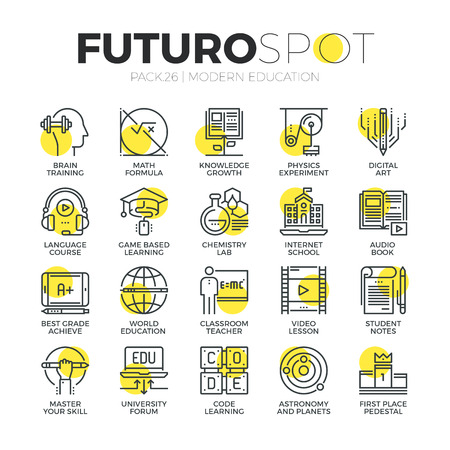 education: 스트로크 라인 아이콘 인터넷 교육 클래스와 온라인 과정 연구의 집합입니다. 현대 평면 선형 그림 개념입니다. 프리미엄 품질 개요 기호 컬렉션입니 일러스트