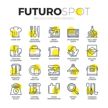 kitchen scale: Stroke line icons set of home tableware, household and kitchen utensils. Modern flat linear pictogram concept. Premium quality outline symbol collection. Simple vector material design of web graphics.