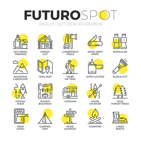 Stroke line icons set of survival tourism recreation, outdoor camping . Modern flat linear pictogram concept. Premium quality outline symbol collection. Simple vector material design of web graphics. Vectores
