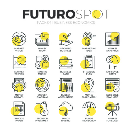 future vision: Stroke line icons set of finance business economics, market investment. Modern flat linear pictogram concept. Premium quality outline symbol collection. Simple vector material design of web graphics.