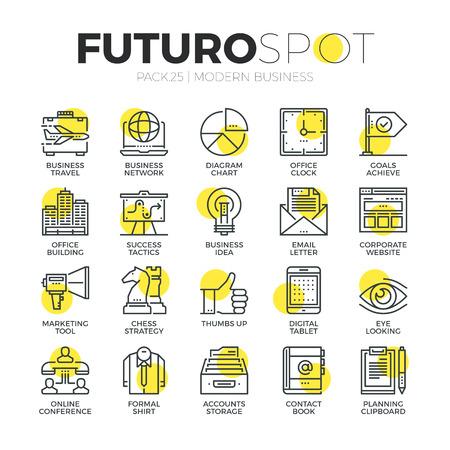 스트로크 라인 아이콘 마케팅 기술 아이디어를 사용하여 사업을 설정합니다. 현대 평면 선형 그림 개념입니다. 프리미엄 품질 개요 기호 컬렉션입니다