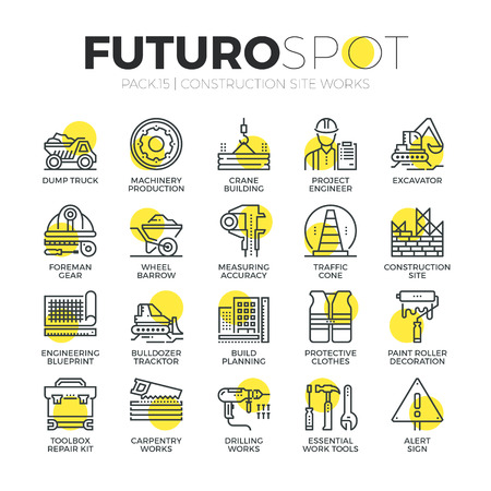 excavator: Stroke line icons set of construction building works, engineering tools. Modern flat linear pictogram concept. Premium quality outline symbol collection. Simple vector material design of web graphics.