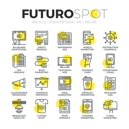 Stroke line icons set of media channels for advertising and marketing ads. Modern flat linear pictogram concept. Premium quality outline symbol collection. Simple vector material design of web graphics. Vectores