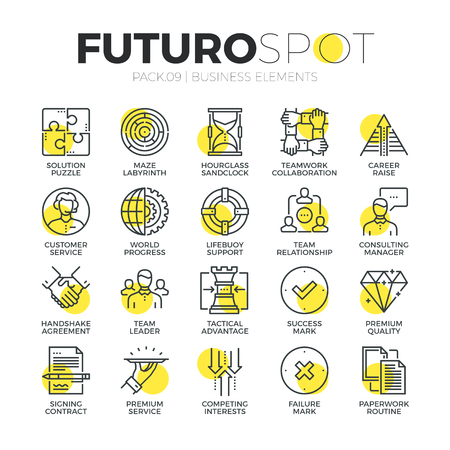 business partnership: Stroke line icons set of doing business services and solution for clients. Modern flat linear pictogram concept. Premium quality outline symbol collection. Simple vector material design of web graphics.