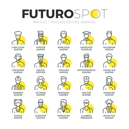 occupations: Stroke line icons set of various human avatars, people profession profile. Modern flat linear pictogram concept. Premium quality outline symbol collection. Simple vector material design of web graphics.