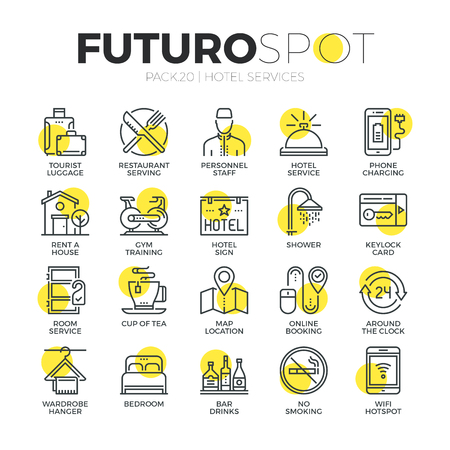 Stroke line icons set of hotel accommodation services, house amenities. Modern flat linear pictogram concept. Premium quality outline symbol collection. Simple vector material design of web graphics. Reklamní fotografie - 52341016