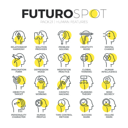 quality: Stroke line icons set of various mental features of human brain process. Modern flat linear pictogram concept. Premium quality outline symbol collection. Simple vector material design of web graphics.